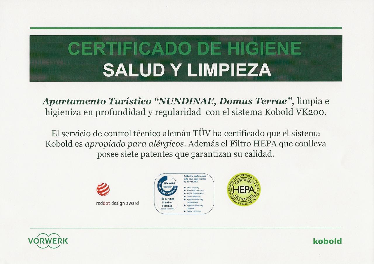 certificado de garantía de limpieza