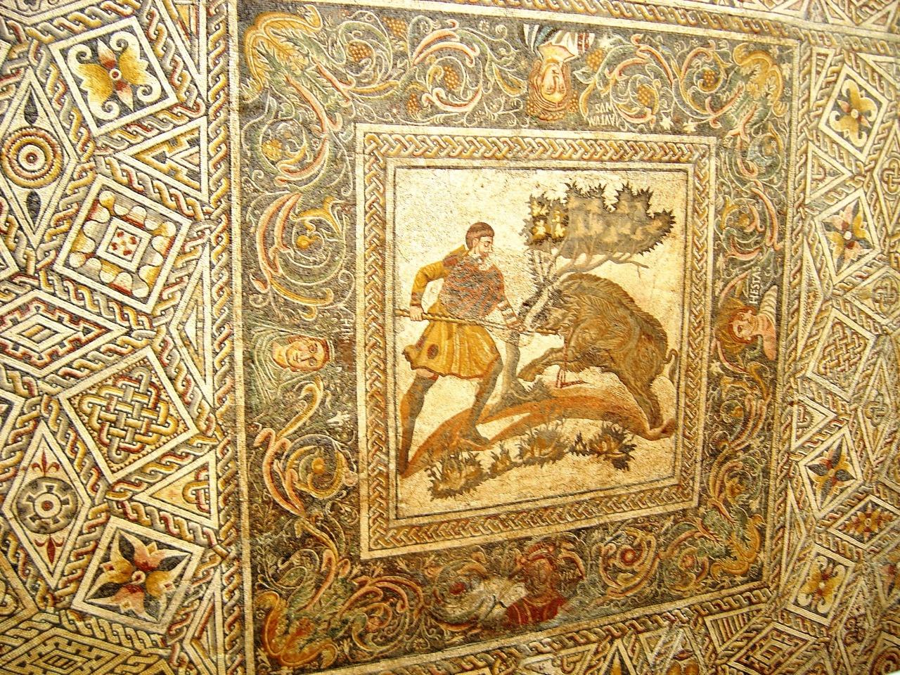 detalle gran mosaico en museo romano de merida