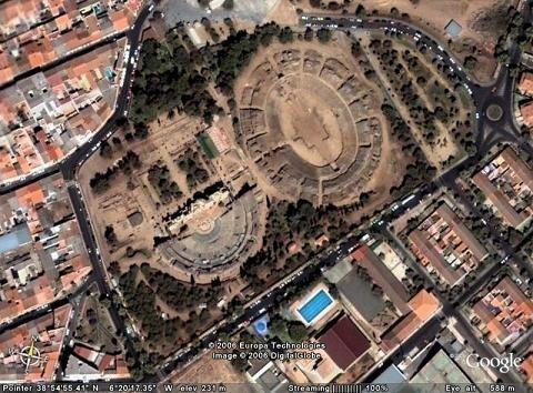 vista aérea recinto arqueológico de merida